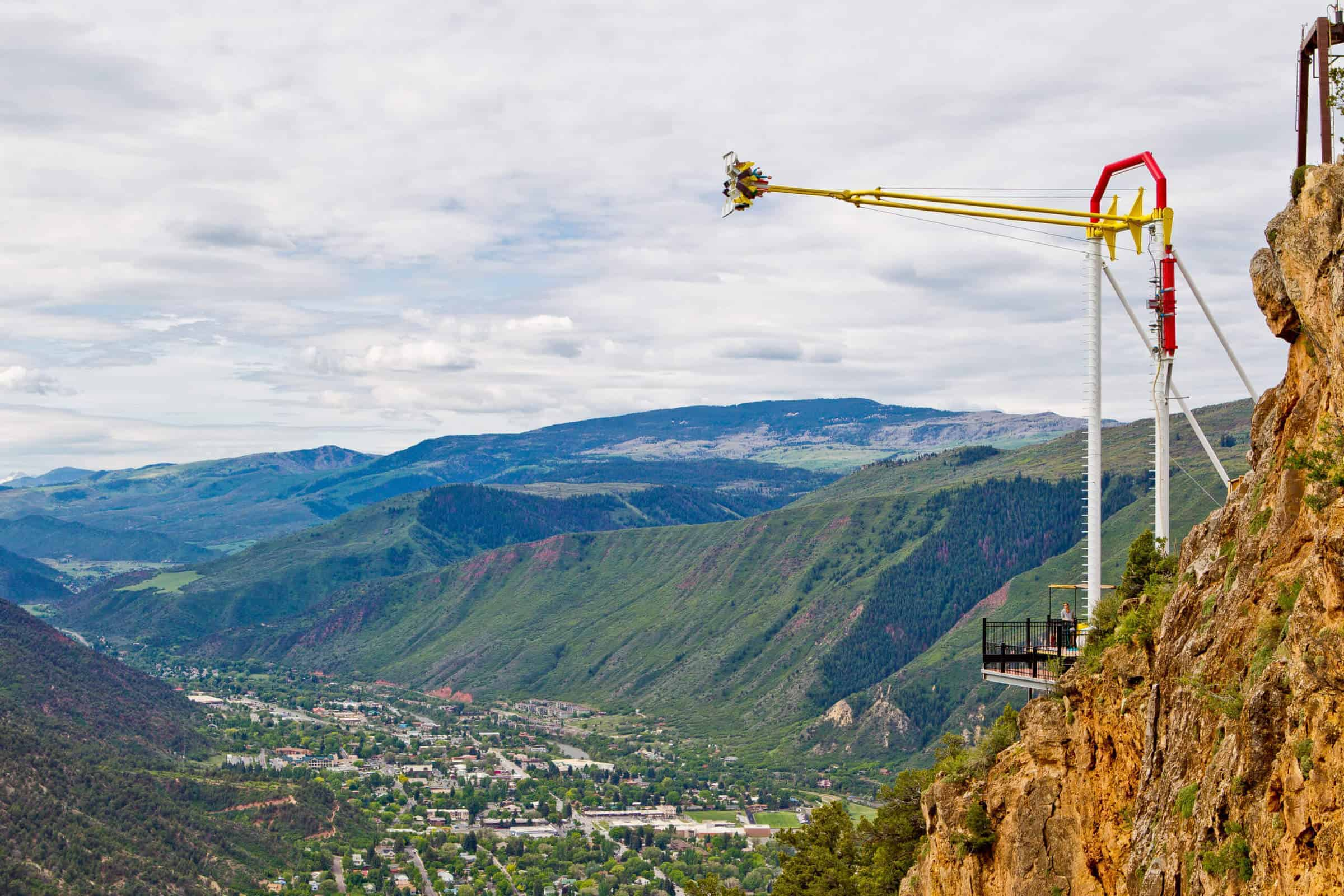mountain view of canyon swing at glenwood springs cavern adventure park